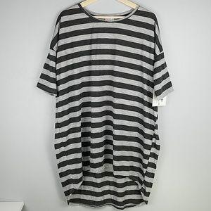 Lularoe Irma Gray Striped High/Low Tunic Tee Top